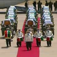 Algeria receives with full honours the skulls of 24 resistance fighters decapitated during French colonial rule that were held in storage in a Paris museum.  By Roy ISSA, Roy ISSA (Algerian TV/AFP)