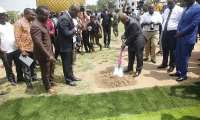 President Akufo Addo cutting the sod for the project