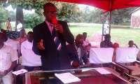 Mr. Alfred Gborgleh, Berekum Municipal Social Welfare Addressing participants