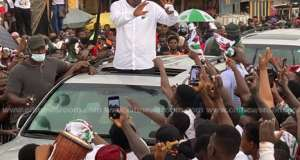 Mahama Shakes Tarkwa As Menzgold Customers Give Him Rousing Welcome