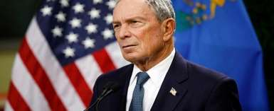 FILE - In this Feb. 26, 2019, file photo, former New York City Mayor Michael Bloomberg speaks at a news conference at a gun control advocacy event in Las Vegas. Bloomberg has opened door to a potential presidential run, saying the Democratic field 'not well positioned' to defeat Trump. (AP Photo/John Locher, File)
