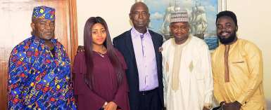 Billionaire Ned Nwoko, Regina Daniels, Receive Unibuja Management Ahead Of 2020 School Carnival