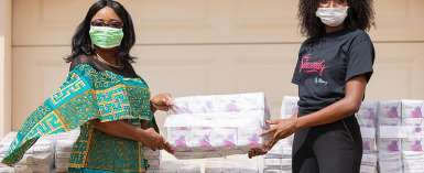 COVID-19 Lockdown: - Needy women get free sanitary pads from Menaye Donkor Muntari