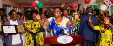 Burundi's first lady Denise Bucumi Nkurunziza (C), seen here last year, has been flown to Nairobi for medical treatment, sources say.  By Tchandrou Nitanga (AFP)