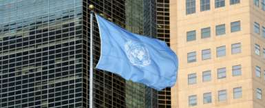 CAR has suffered several violent crises since 2003 when former president Francois Bozize seized power in a coup; the UN flag is seen in New York September 23, 2019.  By Ludovic MARIN (AFP)