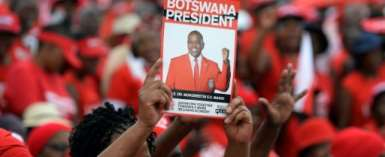 The ruling Botswana Democratic Party (BDP) won most the seats in October's election but the opposition has challenged the result.  By Monirul Bhuiyan (AFP)