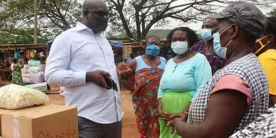 Shai-Osudoku Market Women receive PPEs from DCE