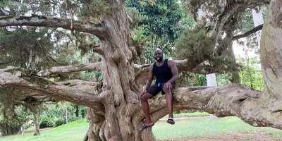 Rashad McCrorey in Aburi Botanical Gardens in West Africa Ghana