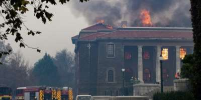 Academics and alumni lament the loss of priceless collections of African antiquites in the Cape Town fire that engulfed a university library.  By RODGER BOSCH (AFP)