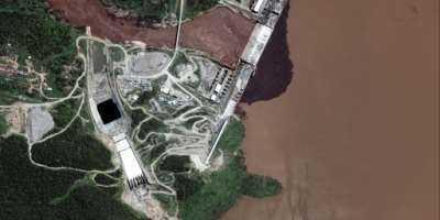 Ethiopia has been filling the reservoir behind its huge dam on the Blue Nile for the past two years, as talks with downstream countries Egypt and Sudan drag on.  By Handout (Satellite image ©2020 Maxar Technologies/AFP/File)