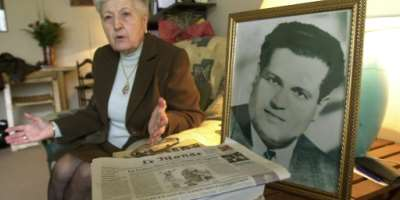 In this file photo taken in 2001 Malika Boumendjel, widow of Algerian lawyer Ali Boumendjel gives an interview at her home about her husband's death during his 43 days detention by the French army on March 23, 1957..  By Eric Feferberg (AFP/File)
