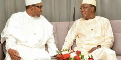 Nigerian President Muhammadu Buhari (L) and Chad's President Idriss Deby (R) often discussed border security.  By BRAHIM ADJI (AFP)