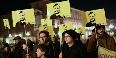 Rights groups including Amnesty International have held regular vigils calling for justice for Italian student Giulio Regeni.  By Marco BERTORELLO (AFP/File)