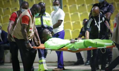 Richard Ofori being stretched off