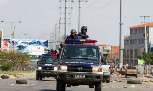 Police officers are in Luanda, Angola, on November 11, 2020. Police recently arrested and detained journalist Jorge Manuel. (AFP/Osvaldo Silva)
