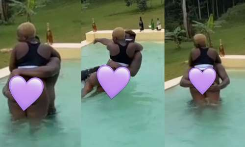 Medikal carries Fella Makafui's heavy 'loads' and banging them in swimming pool on his 27th birthday