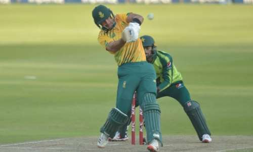 Aiden Markram hit 54 off 30 balls to help South Africa to a six wicket win over Pakistan in the second T20 on Monday.  By Christiaan Kotze (AFP)