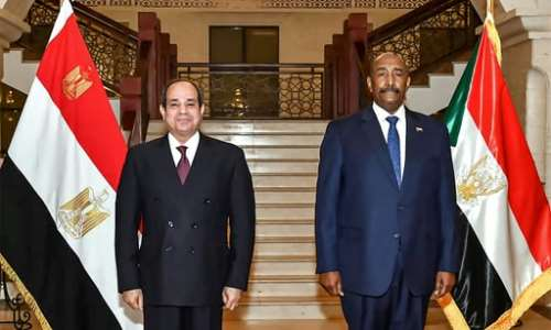 Egyptian President Abdel Fattah al-Sisi (L) made his first to neighbouring Sudan since the ouster of longtime autocrat Omar al-Bashir and met head of state General Abdel Fattah al-Burhan.  By - (EGYPTIAN PRESIDENCY/AFP)