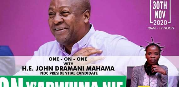 Ohemaa Woyeje to host a one on one interview with John Mahama on Angel TV