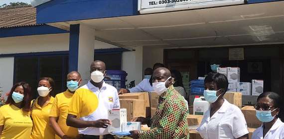 MTN donate PPEs to Tema General Hospital