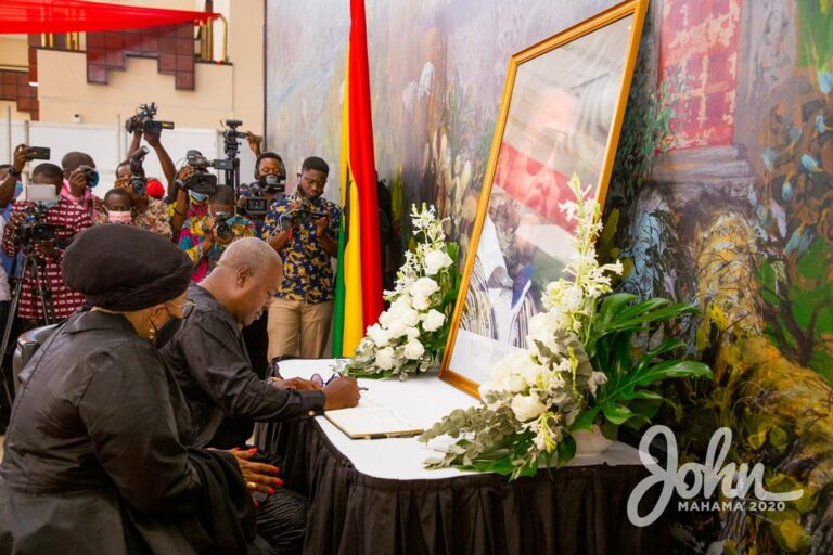 Mahama, Wife Sign Rawlings' Book Of Condolence