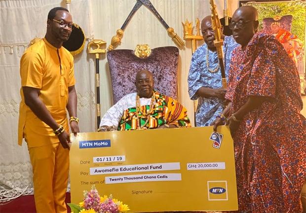 MTN Donates ¢20,000 To Awomefia Education Fund
