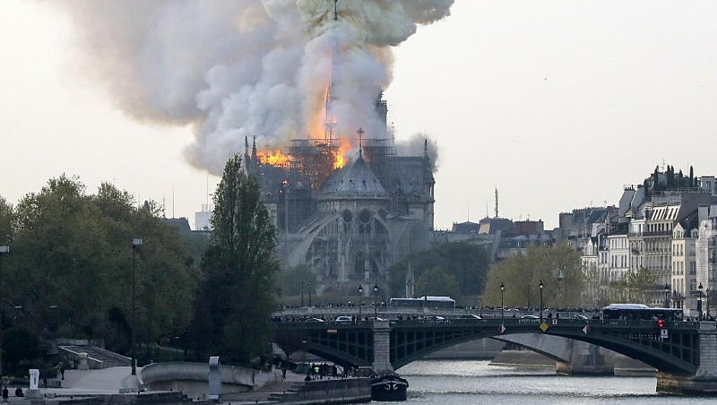 Iconic Notre Dame Cathedral in Paris on fire
