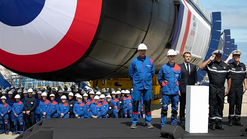 Macron unveils new French submarine in Cherbourg