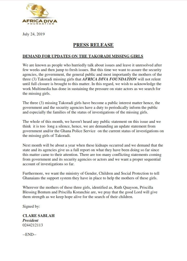 Takoradi Missing Girls: Africa DIVA Foundation Demands Full Update