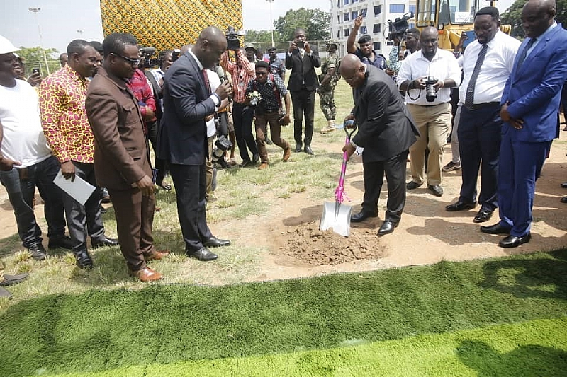 Akufo Addo Cuts Sod  …For Construction of Astro Turf Sports Facility At UPSA