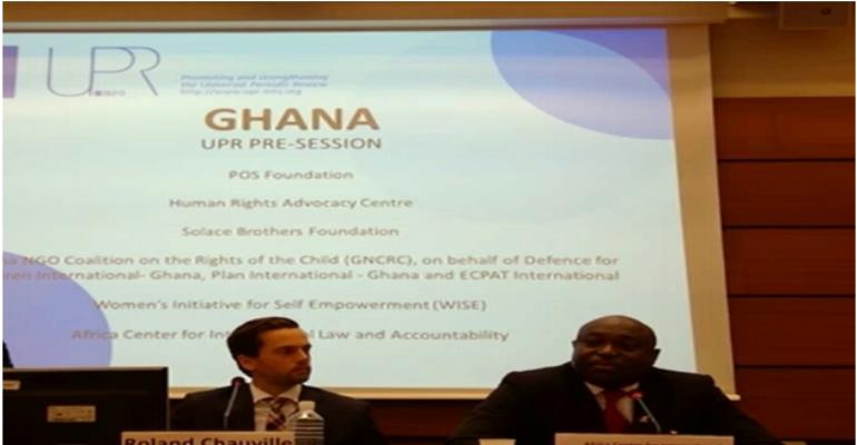 Mr. William Nyarko (right) speaks to the diplomats at the session chaired by Mr. Roland Chauville (left), executive director of UPRInfo, Geneva