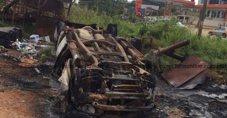 Wassa Akropong Riots: 4 Chinese Arrested, 14 Cars Burnt