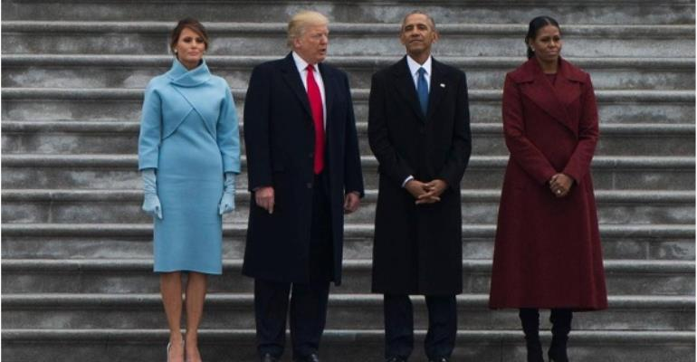 Barack and Michelle Obama and Donald and Melania Trump at Trump's Inauguration