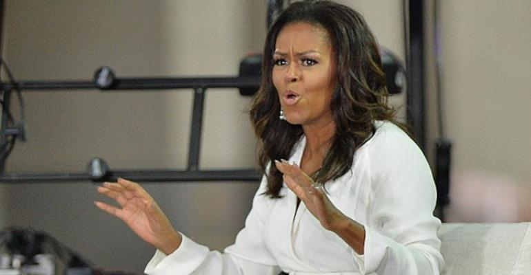 Michelle Obama speaks in a television show
