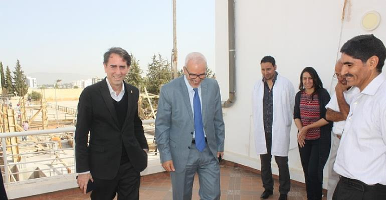 HAF President, Dr. Yossef Ben-Meir (left) and USMBA President, Dr. Omar Assobhei (right), visiting the construction site of the university's new hub for innovation