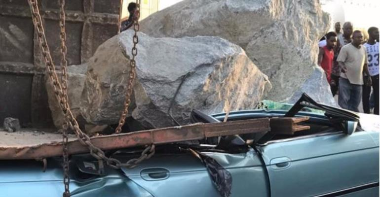 BMW Car Crushed By Rocks Which Fell From A Truck At Tema