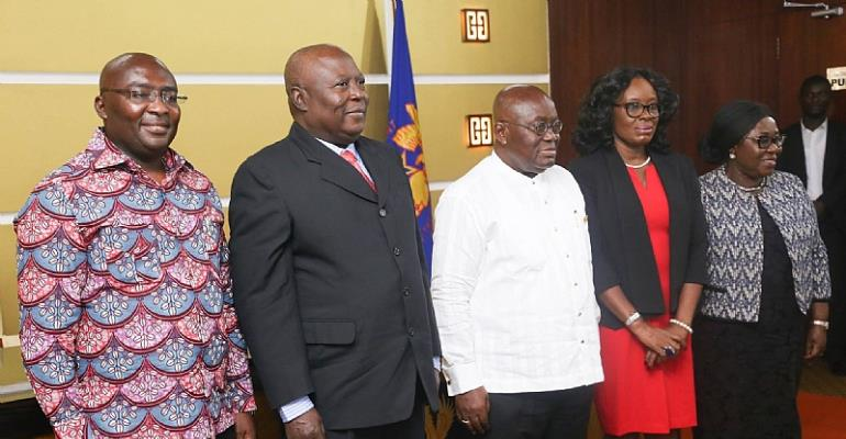 (From Left to right) Vice President Dr. Mahamudu Bawumia, Martin Amidu, President Akufo-Addo, Gloria Akuffo etc