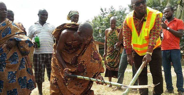 Hon Mozart K. Owuh and Nana Kwaku Appiah III breaking the ground for project to commence.