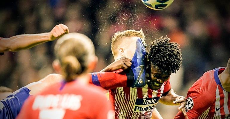 Atletico Madrid Thomas Partey Suffers Wicked Face Attack By Studs His Own Teammate