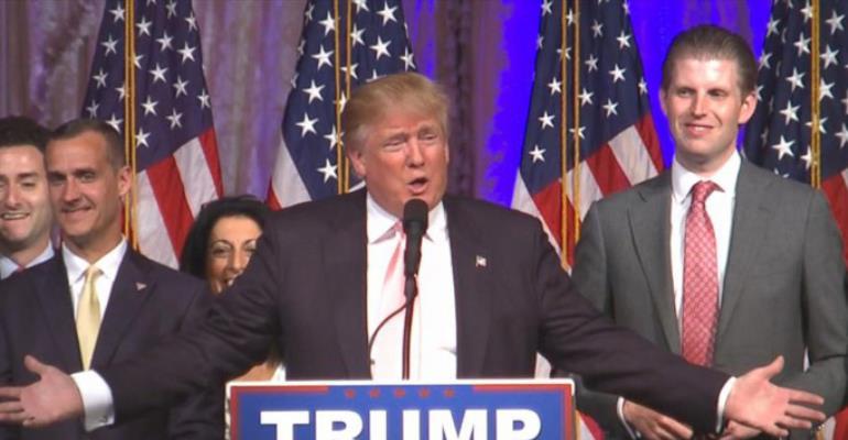 Donald Trump addresses supporters