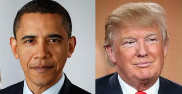 President Barrack Obam and Donald Trump