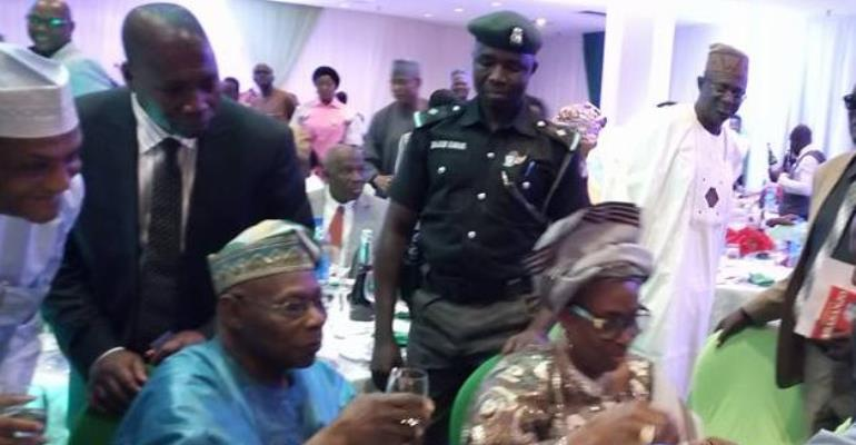 Olusegun Obasanjo becomes first recipient of NOUN Ph. D, celebrates with friends
