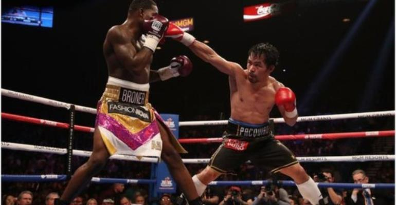Manny Pacquiao (right) threw 112 connecting punches to Broner's 50 at the MGM Grand
