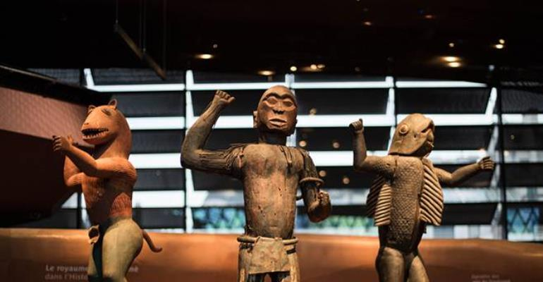 Royal statues, Dahomey, Republic of Benin, now in Musée du quai Branly, Paris, France.Left, King Glélé, half-lion, half- man. Centre, King Ghézo, half-bird, half-man.Right, King Béhanzin, half-shark, half-man.