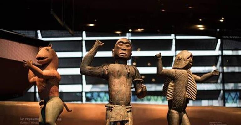 Royal statues, Dahomey, Republic of Benin, now in Musée du Quai Branly, Paris, France. Left, King Glélé, half-lion, half- man. Centre, King Ghézo, half-bird, half-man. Right, King Béhanzin, half-shark, half-man. To be returned soon to Republic of Benin.
