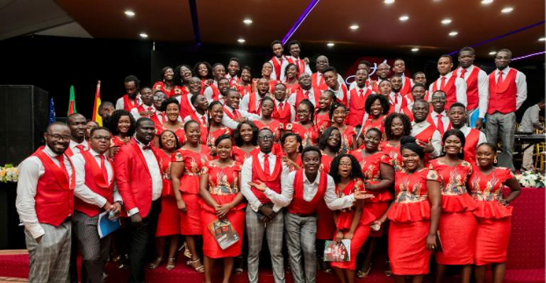 Members of the Harmonious Chorale in a pose after the event