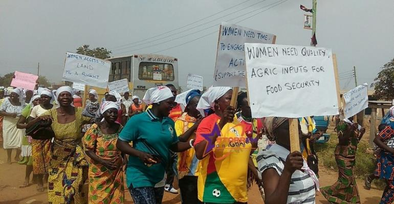 Hundreds of rural women turned up for the road march against unpaid care work