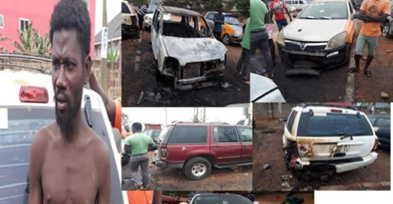 The suspected mentally deranged Ofori and the five vehicles he burnt.