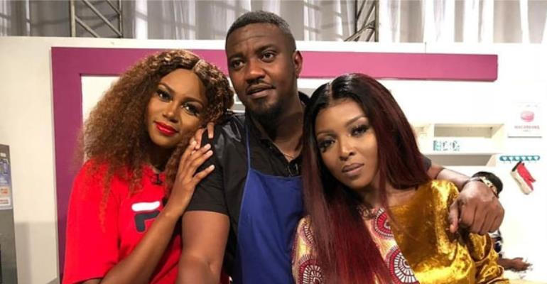 Yvonne Okoro with Yvonne Nelson and John Dumelo on set of 'Dining With'