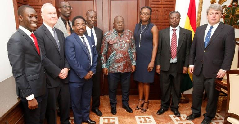 President Akufo-Addo in a group photograph with members of the delegation from the Physician Foundation from North America